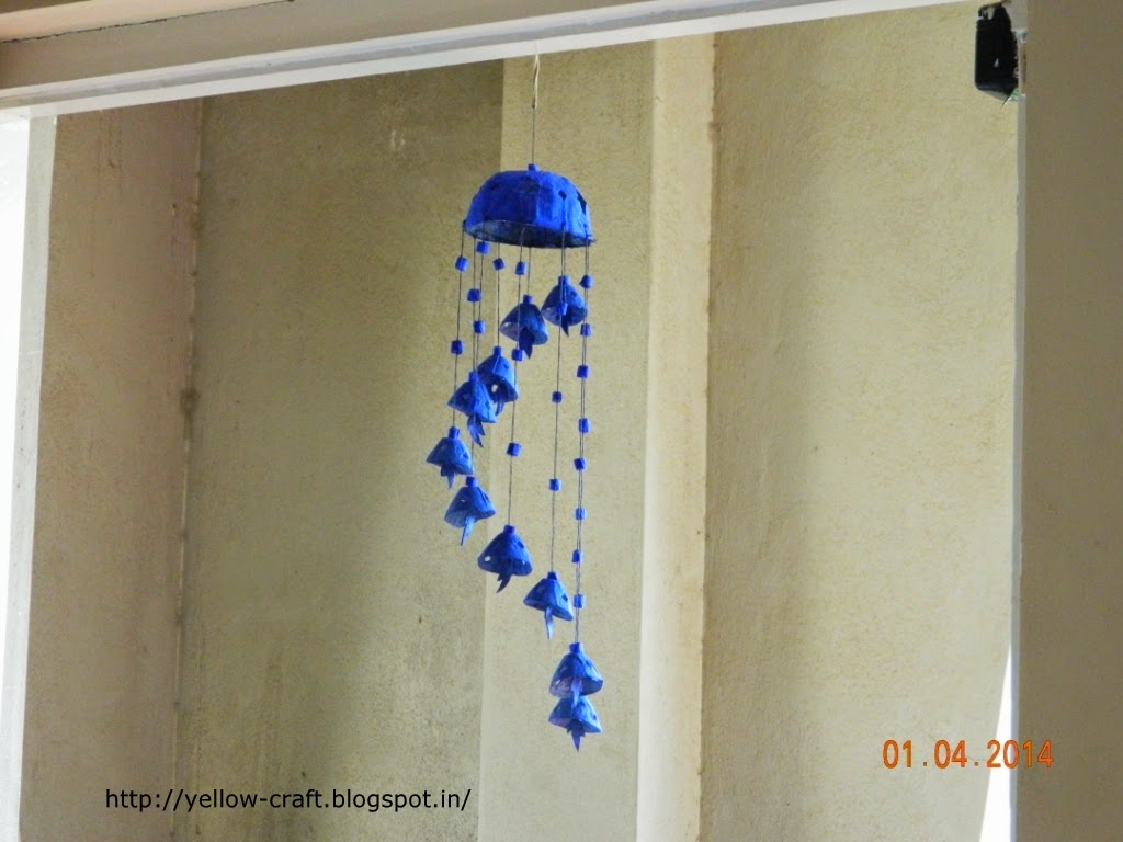 Egg carton wind chime yellow craft for Wind chime craft projects