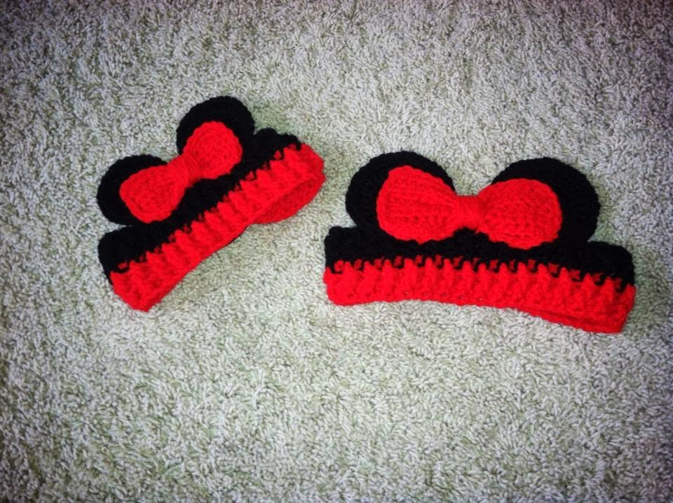 Christas Crocheted Creations Minnie Mouse Ear Warmers