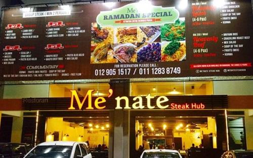 Me'nate Steak Hub lokasi berbuka puasa Ramadan 2015, stik sedap dan popular di Me'nate Steak Hub, kes Azwan Ali maki peminat pasal Menate, senarai set menu hidangan dan bayaran Me'nate Steak Hub, gambar kedai Me'nate Steak Hub