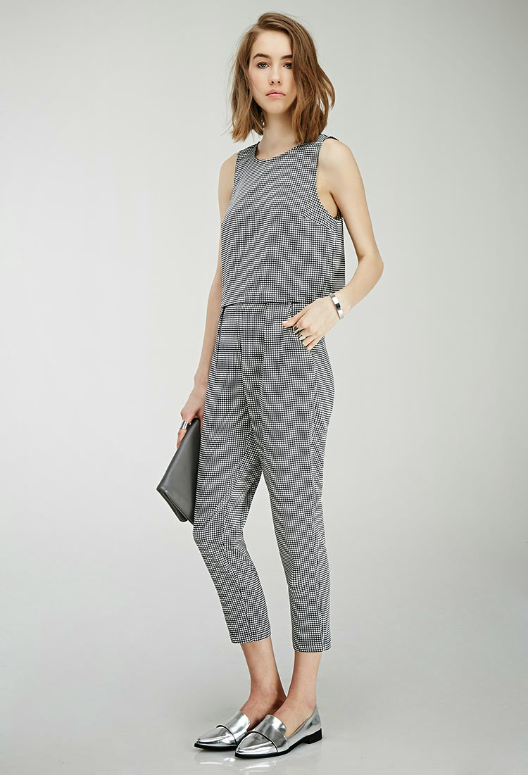 Matching Black and White Gingham Checker Windowpane Crop Top and Cropped Pants Set