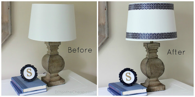 Easy Lamp Shade Ribbon Trim (no glue gun required!)