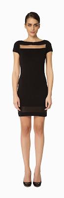 göğüs dekolteli siyah elbise, kısa elbise, ofis elbisesi klasik kesim