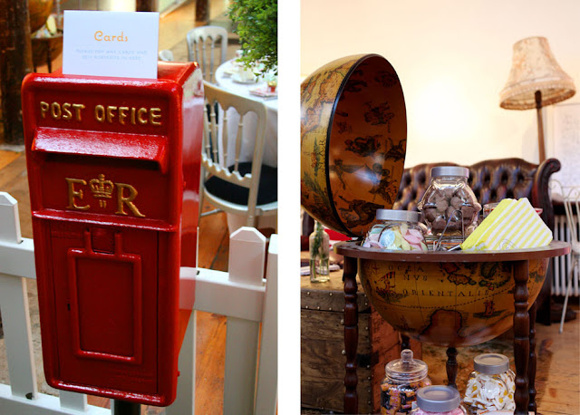 Royal Mail wedding postbox and antique globe Pick n Mix bar by Theme-Works Weddings