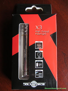 SolarForce X3 AAA Flashlight - In box: front