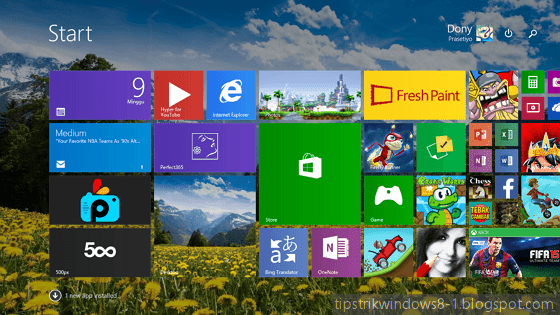 start screen layar start Windows 8.1, tampilan windows 8.1