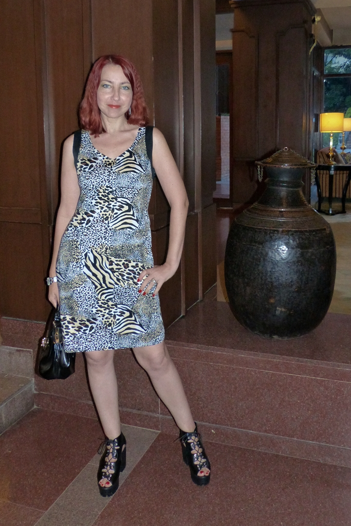 Animal prints dress, chunky heel shoes