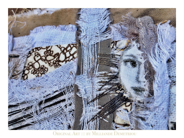 ' She Who Becomes Between Awake and Dreaming ' Milliande Demetriou- Contemporary Art Textiles for Sale , Art Gallery Shop at http://artstudioblog.milliande.com , Original Art