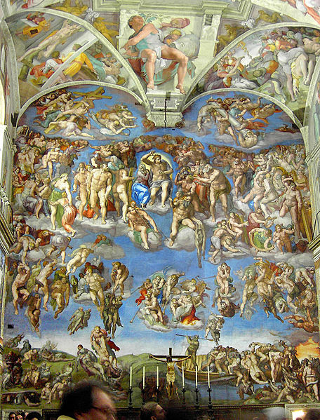 """The Last Judgement"" by Michelangelo Sistine Chapel alter wall, 1536-1541"