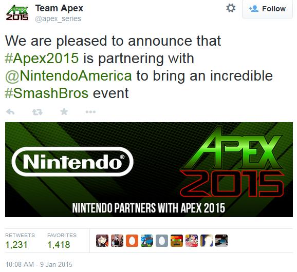 Nintendo sponsors APEX 2015, Super Smash Bros. tournament