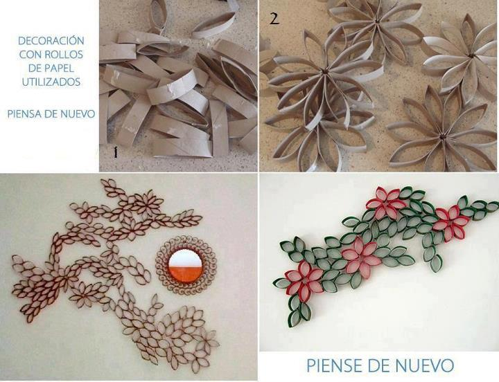 Ideas para reciclar decoraci n con rollos de papel for Rollo de papel para pared