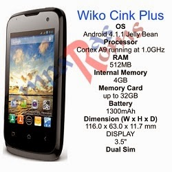 Wiko Cink plus specs and stock rom download