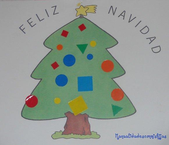 Manualidades con mis hijas los pinos y los gomets en navidad - Manualidades de navidad para ninos pequenos ...