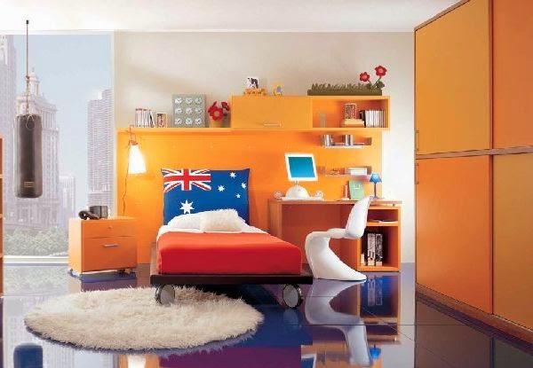 Bedroom Furniture Design Orange Color Modern