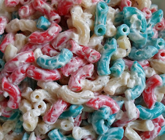 red, white and blue dyed pasta