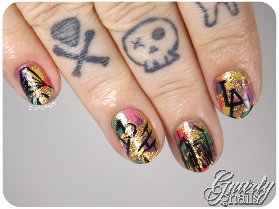 Nail-Art-A-Go-Go - Day 26 - Graffiti - Gnarly Gnails