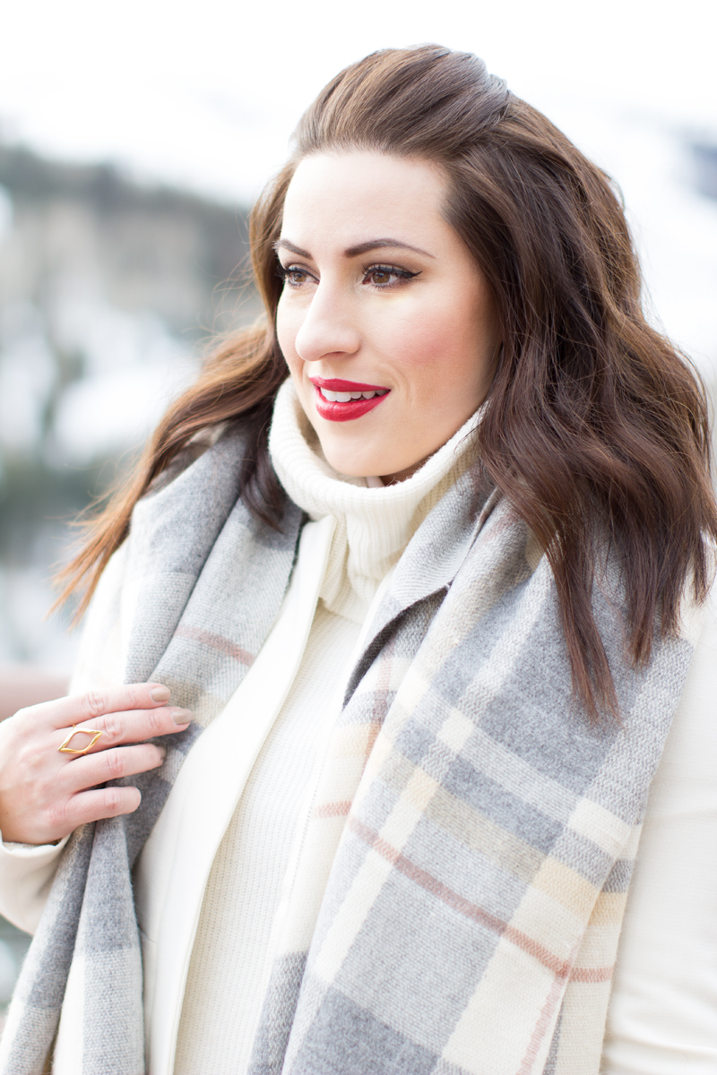 mac russian red lipstick, plaid scarf, park city utah