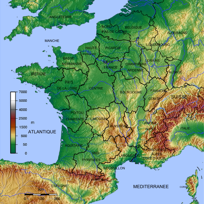 France geographic map from atlas scan.