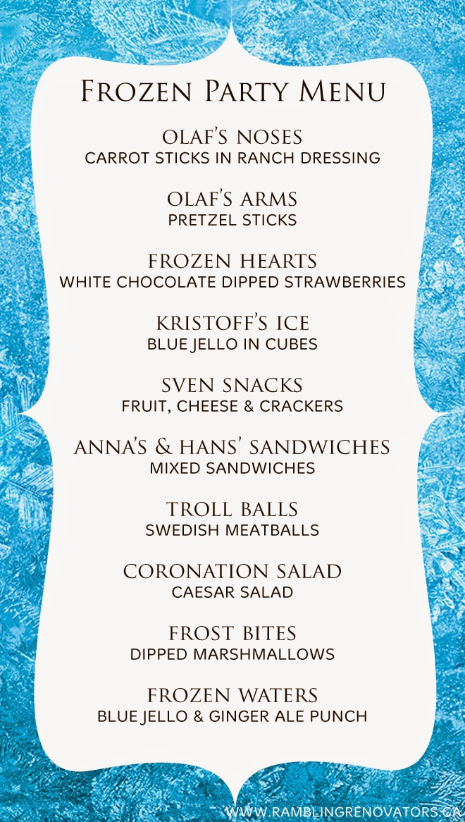 Frozen Birthday Party Menu