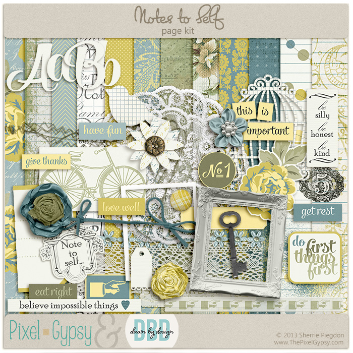 Notes to Self Digital Scrapbooking Page Kit