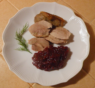 Plate of Cranberry Sauce with Turkey Slices
