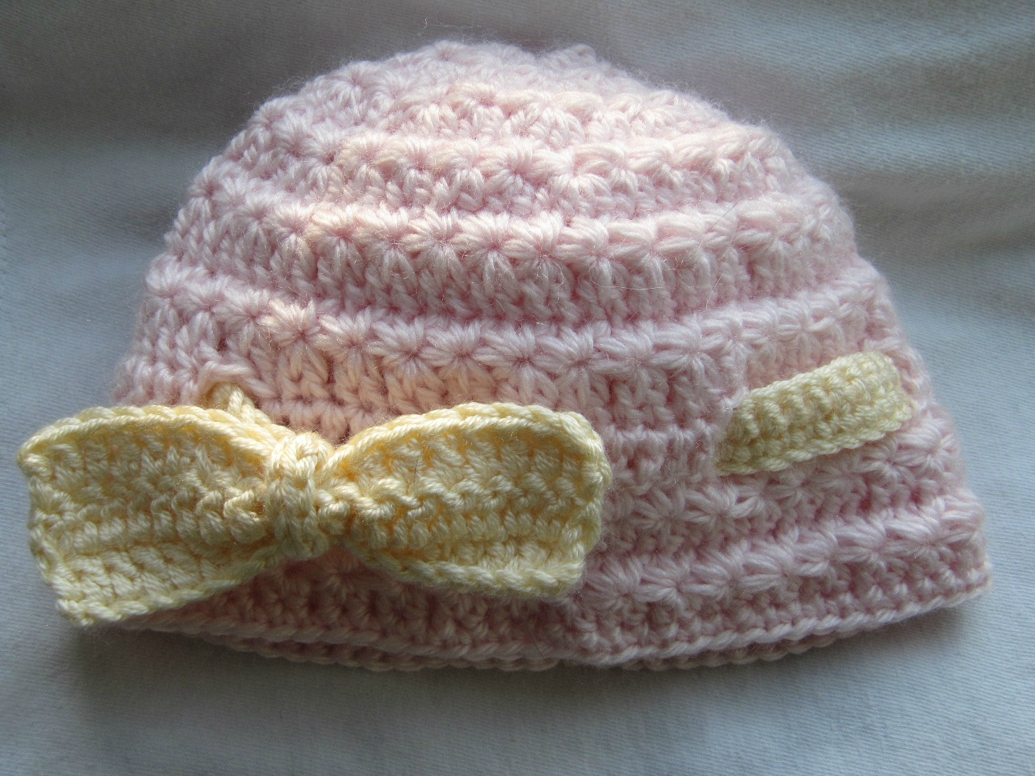 Crochet Star Stitch Hat Free Pattern : TeaBeans: Pink Star Stitch Baby Beanie