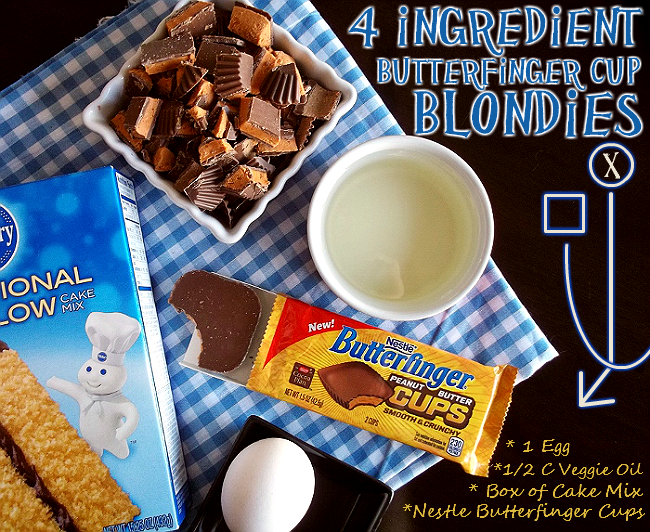 4 Ingredient Butterfinger Cup Blondies #ThatNewCrush #shop #cbias