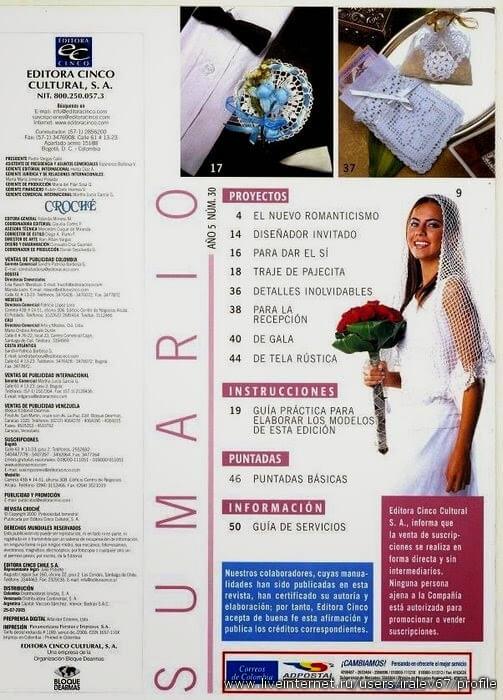 Contenido de revista de tejido ganchillo para novias