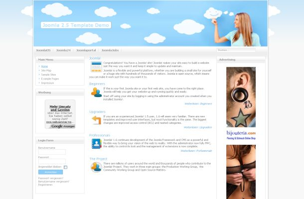Grey Blue Clouds Business Joomla Theme Template