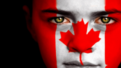 canada day flag on face pictures