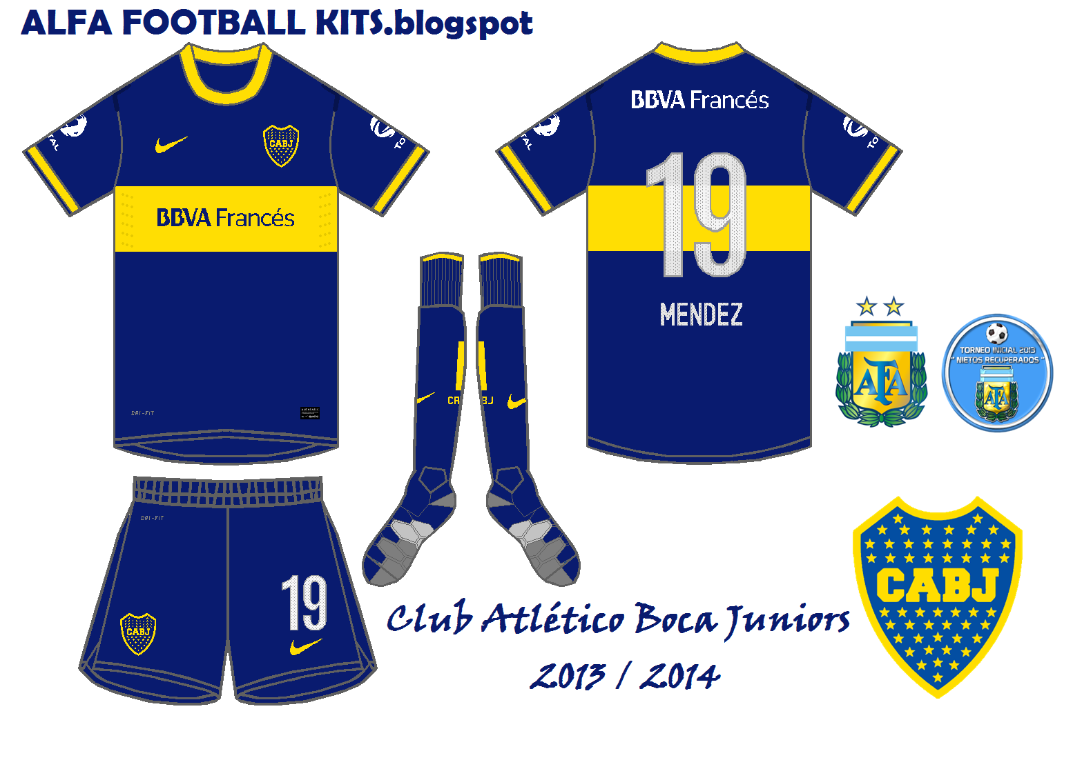 ALFA Football KITS: CLUB ATLÉTICO BOCA JUNIORS - TITULAR 2013 / 2014
