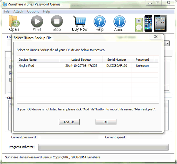 recover lost iPod backup password