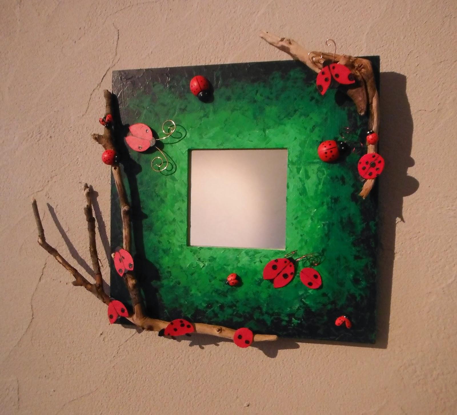 décoration personnalisée chambre bebe fille garçon miroir coccinelle par créateur et artiste severine peugniez