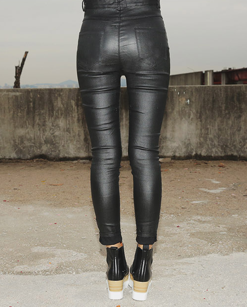 Coated High Waist Pants