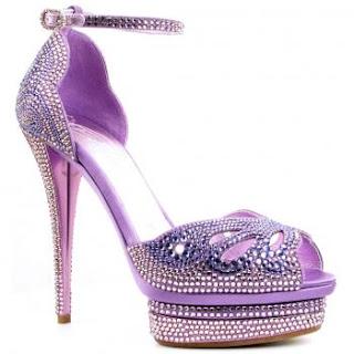 Bling heels, crystal shoes, high heels, purple sandals