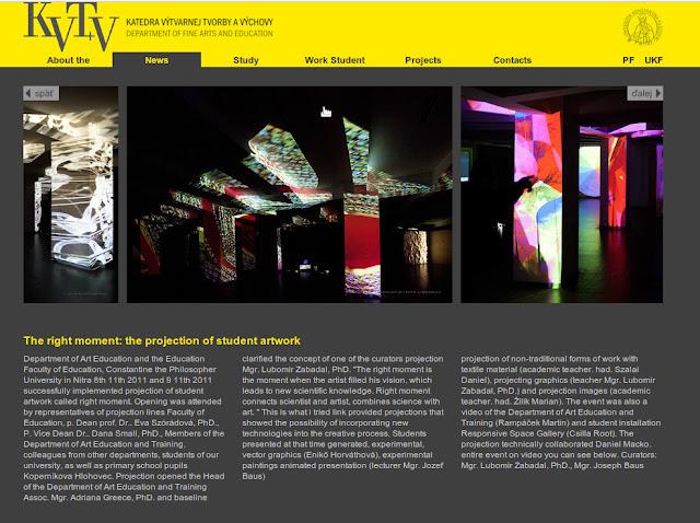 Página sobre a exposição Pravý Moment - Site Departamento de Belas Artes da Universidade de Nitra.