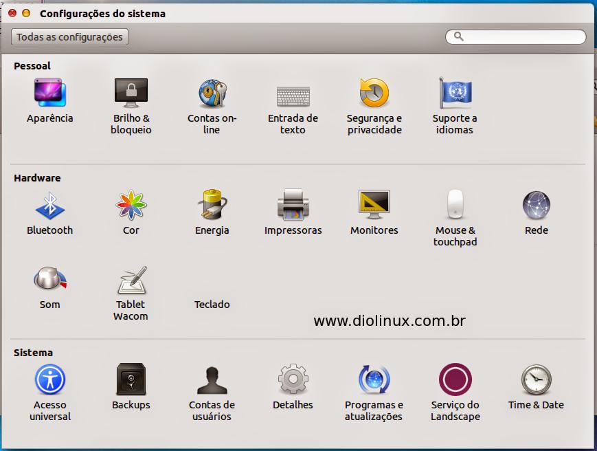 Painel de Controle do Ubuntu com tema do Mac OS