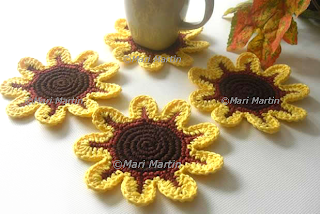 Crochet Flower Coasters Yellow
