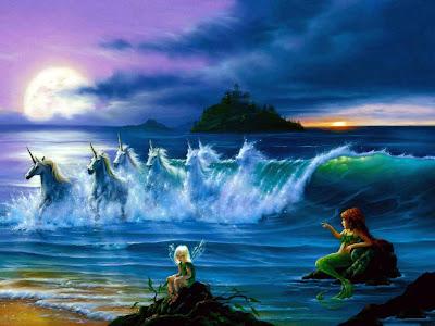 Unicornios formados con las olas del mar con una hada y una sirena