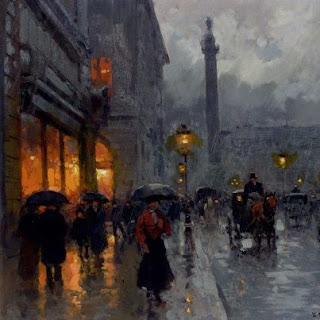 Il quadro di cortes: Place Vendome sotto la pioggia