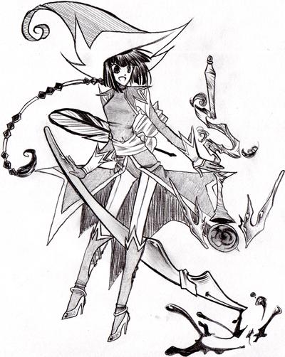 Crayonné de la sorcière chevauchant un stylo plume