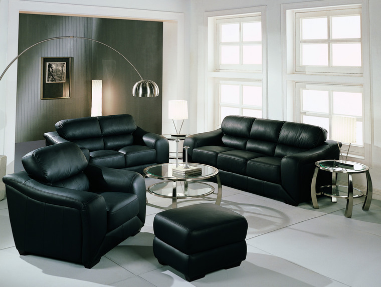 Black with Leather Couches Living Room Decorating Ideas
