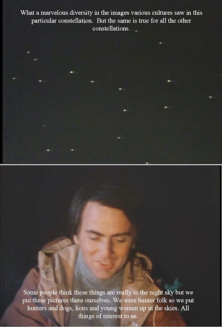 Carl Sagan discussing stars and constellations.
