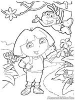 Gambar Petualangan Dora Untuk Diwarnai