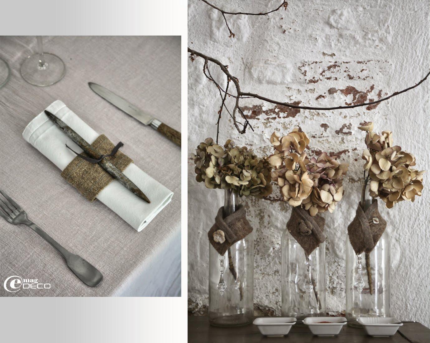 Les ronds de serviette déposés sur les tables du restaurant 'La Maison sur la Place' sont tous différents et réalisés à partir de matières naturelles comme le lin ou le chanvre, création Béatrice Loncle et Geneviève Cazottes
