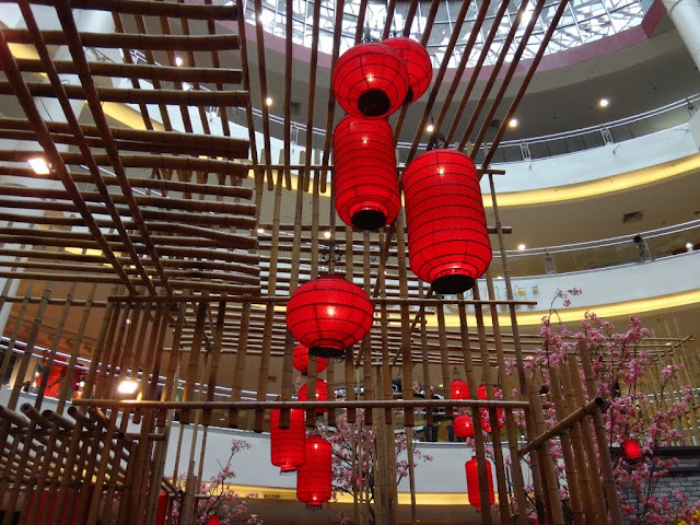Red lanterns are decorated at Mid Valley Mall in Kuala Lumpur, Malaysia