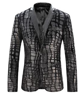 Creative Mens Luxury Fur Plaid Pattern Blazer