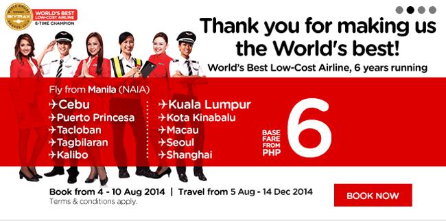 AirAsia P6 Promo Fair Bookings from August 4 - 10, 2014
