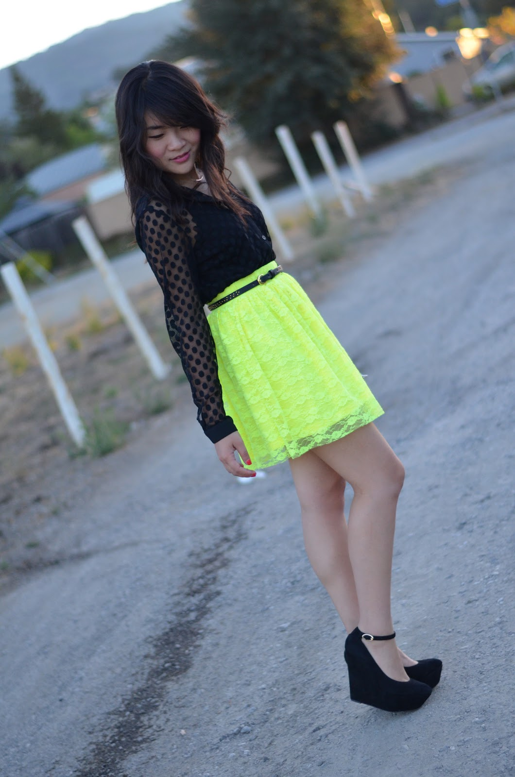 forever 21 black mesh dot blouse, forever 21 mesh dot blouse, forever 21 black sheer dot blouse, forever 21 sheer dot blouse, urban outfitters neon yellow lace skirt, urban outfitters neon yellow skirt, pins and needles neon yellow lace skirt, pins and needles neon skirt, sam edelman quinn