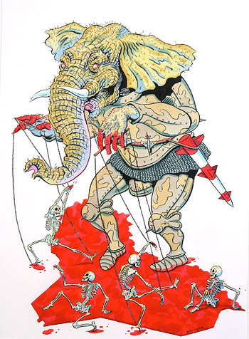 illustration of elephant holding strings of puppet skeletons dancing in blood