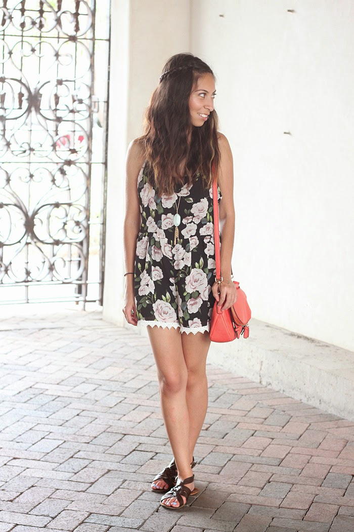 nasty gal gardenial romper, brown sandals